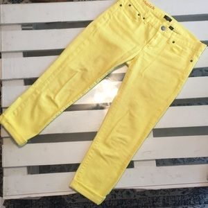 J. Crew Yellow Ankle Crop Toothpick Jeans